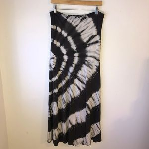 INC-Blk/White Strapless Tye Dye Dress w/Studs L